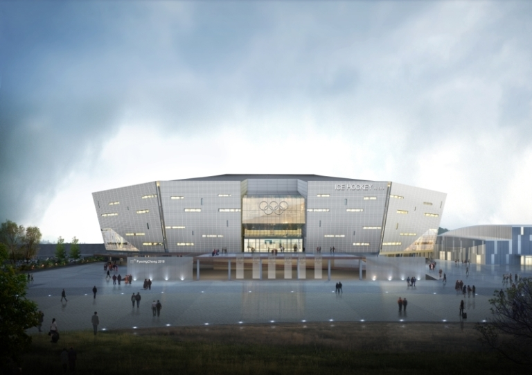 Design for Yulgok Hockey Centre. The architectural design of the venue is to mimic ice hockey pucks. Image by The PyeongChang 2018 Official Website