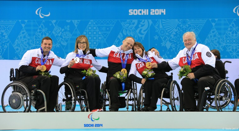 Photo of the Canadian Wheelchair Curling team, Gold medalist of Wheelchair Curling at the Sochi 2014 Paralympic Winter Games. Photo by Sochi 2014 Flickr